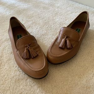 Cole Haan tan leather tassel loafers made in Italy